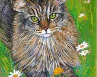 Custom Pet Portrait or Gift Certificate art painting  Original Dog  Cat Animal flowers poppies tulips beach whimsical surreal