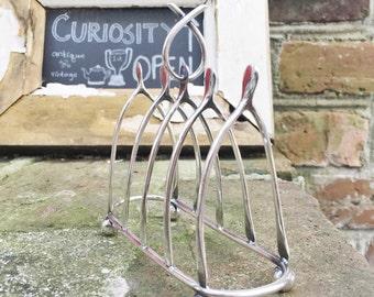 Vintage 1902 English Sterling Silver Figural Wishbone Toast Rack