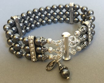 Pearl Bracelet with 3 multi strands of Charcoal Grey glass pearls perfect bridal wedding jewelry Mother of the Bride