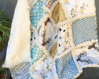 Fawn Aqua and Butterscotch Baby Boy or Girl Rag Quilt