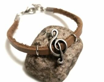 SALE Jewelry Treble Clef Jewelry Leather Bracelet Music Jewelry Musician Gift Trending FLASH Sale