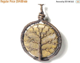 20% OFF Sale The Spindly Branch Tree of Life Necklace in Jasper Stone and Antique Copper
