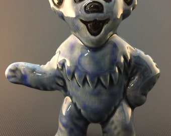 Ceramic Standing Dancing Bear Marbled Blue Glass Glazed Tobacco Spoon Pipe