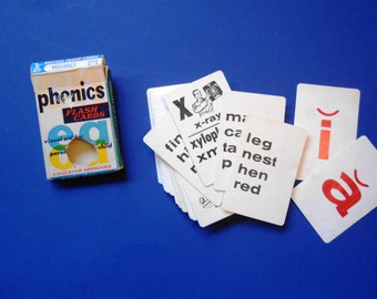 Vintage Phonics Flash Cards, Russell Flash Cards, 1960