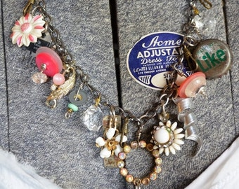 VINTAGE ON SALE Your Found Objects Mixed w/ Trinkets and Treasures Repurposed into Junk Necklace: ReaganJuel
