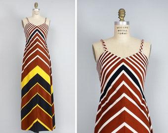 Chevron Dress S/M • 70s Maxi Dress • Tori Richard Flare Dress • Spaghetti Strap Dress • Hawaiian Dress • Striped Dress • Fall Dress | D651