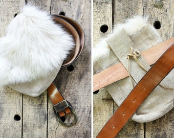 Rabbit Fur Belt Bag • Brown Belt w/ Fur Bag • Furry Fanny Pack | B338