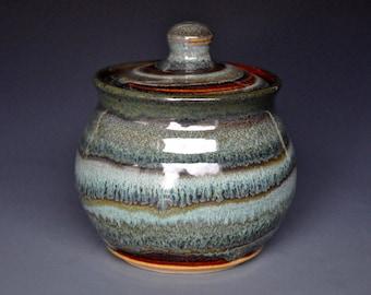 Color Swirl Pottery Sugar Bowl Small Ceramic Stoneware Jar C