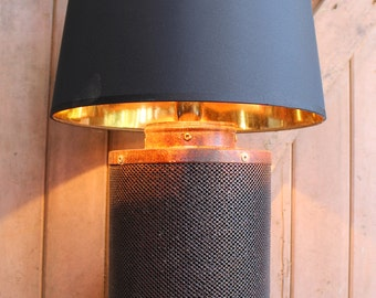 Factory Industrial Table Lamp, Air filter Table Lamp, Upcycled Lamp, Loft Living ,Urban Style lamp,Steampunk Lamp, shade included