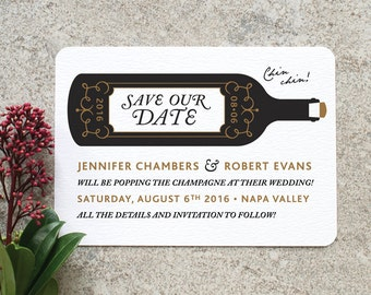 Pop the Champagne 'Save the Date' Card / 'Wine Bottle' Wedding Announcement / Engagement Party / Black Gold / Custom Colours / ONE SAMPLE
