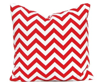 One Red Pillow Cover - Throw Pillow Cover - 18 x 18 - Chevron Pillow Cover - Red and White - Home Accents - Christmas Decor - Red Decor