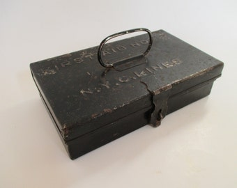 Vintage NYC Rail Lines First Aid Box - Industrial Decor - NYC Rail Lines - Railroad Collectible - Metal First Aid Box