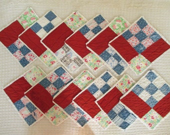Vintage Quilt Squares - Sewing - Quilting - Shabby, Cottage Decor - Dark Red, Denim Blue, White - Small Floral Print - 12 in Lot