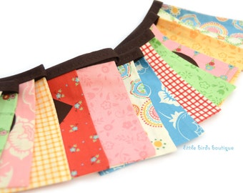 READY to SHIP! Reusable Happy Birthday Fabric Banner - Pastel, Basket of Flowers, by Moda Fabrics