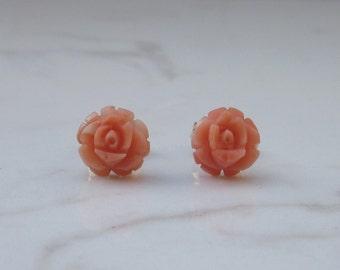 Vintage Petite Coral Rose Stud Pierced Earrings in 14k Solid Yellow Gold