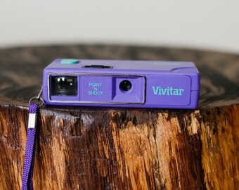 Tiny Purple and Aqua Point n Shoot Vivitar 110 Film Camera with Wrist Strap