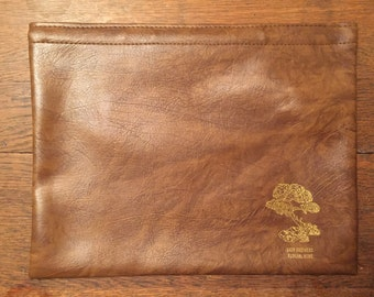 Vintage Leather Oversized Large Pouch Moneybag Purse Clutch Barr Brothers Funeral Home