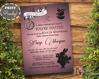 Amazing Alice In Wonderland Baby Shower Invitation, Printable, Customized, Tea  Party Baby Shower,
