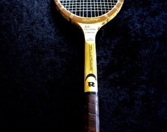 Vintage John Newcomb Signature Rawlings Wood Tennis Racquet 4 1/2 T-538  Leather Grip