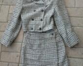 Express Velvet-Collared, Black-White, Mini Skirt Suit