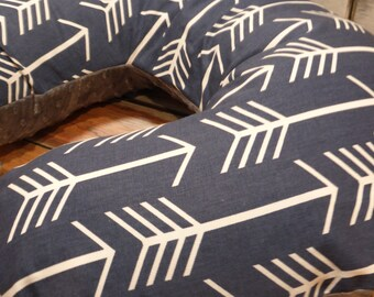 Nursing Pillow Cover - Baby Boy White Arrows on Navy Boppy Cover with Your Choice of Minky