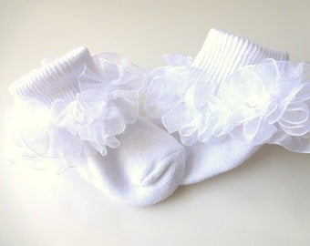 White Sheer 1.5 Inch Organza Ruffled Ribbon Socks