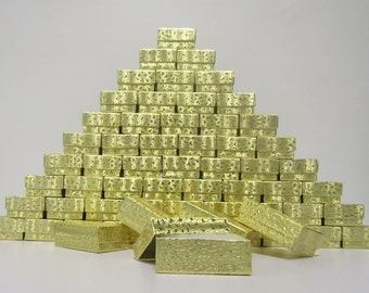 100 Pack - Gold Foil Boxes (2.5 x 1.5 x 1 in.) Cotton Filled Boxes