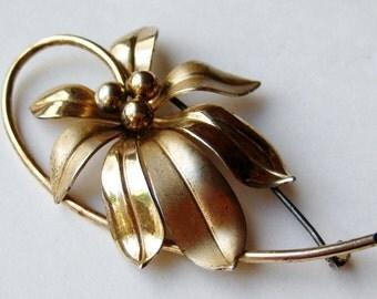 Vintage 40s Forstner Sterling Silver Gold Vermeil Floral Brooch Pin