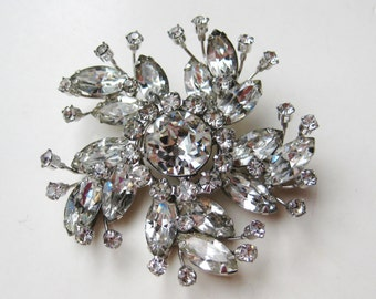 BIG Vintage 50s 60s Sparkling Rhinestone Signed WEISS Designer Pinwheel Brooch Pin