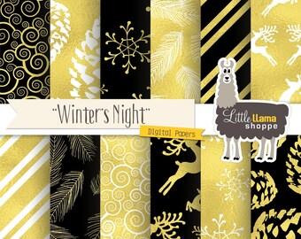 Winter Digital Paper, Christmas Digital Paper, Black & Gold Digital Paper, Elegant Christmas, Pine Cones, Snowflakes, Black Gold