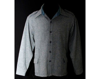 Men's Large Wool Shirt - Late 1970s Wintry Blue Worsted Men's Long Sleeved Shirt-Jacket - Norm Thompson Label - Winter - Chest 46 - 38229-1