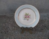 vintage homer laughlin georgian chateau bread and butter plate 6 1/4 inches robins egg blue 22 k gold trim