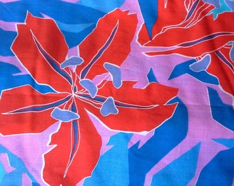 Large Floral Print Cotton Blend Fabric 3 1/2 Yards X0459 Blue, Red, Purple