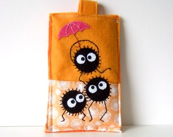 soot with umbrella iphone case / itouch case / ipod case - cozy - pouch orange spirited away