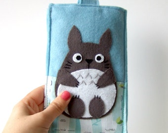 Totoro felt smart phone case / iphone cozy / samaung galaxy cover light blue
