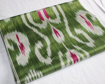 Uzbek cotton green ikat fabric Adras by yard. F027