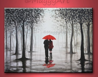 original abstract painting,red umbrella, home decor, walking in rain, black white red,love couple,24x18 inch,great wedding gift