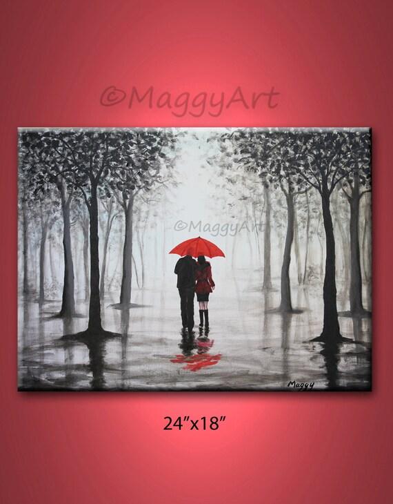 original abstract paintingred umbrella home decor walking