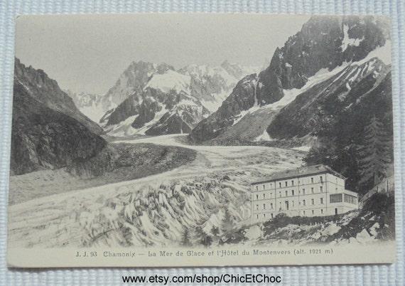 chamonix la mer de glace hotel montenvers unused vintage postcard from chicetchoc on etsy. Black Bedroom Furniture Sets. Home Design Ideas