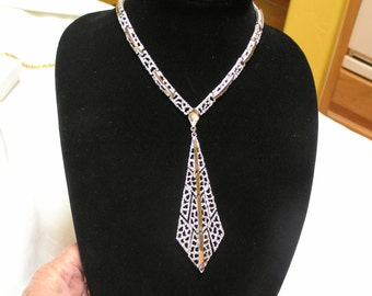 Vintage Crown Trifari chunky long Open weave filigree silver tone triple articulating pendant necklace