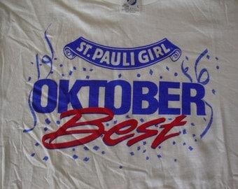 Vintage St. Pauli Girl Beer Octoberfest best NEW 80's T shirt Men's Size L