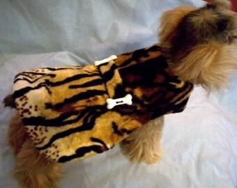 Sale--50% Off---Wild Animal Faux Fur Dog Coat---XXS Only