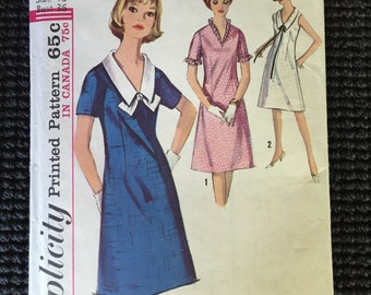 Cute Vintage Classic Simplicity 5825 Misses Dress Sewing Pattern Size 16 Collar