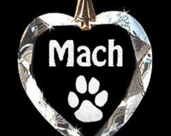 Agility Heart Austrian Crystal Dog Pendant Jewelry Hand Etched Custom Necklace, Suncatcher with any Animal or Name YOU Want, Gift, Dog Lover