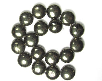 Pyrite 12mm Puff Coin Beads