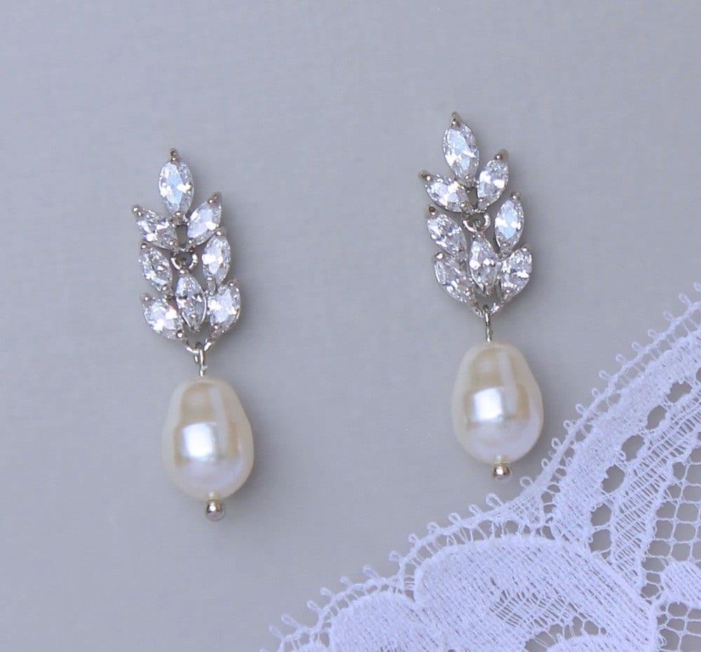and pearl drop earrings bridal earrings