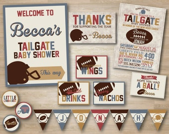 Vintage Football Baby Shower, Superbowl Party Deluxe Package, Football Invitation, Pennant Banner, Thank you Card, Cupcake Toppers, Gift Tag