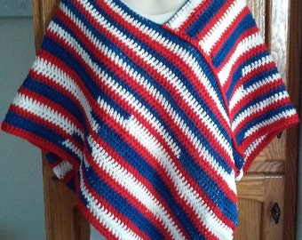 Red, White and Blue Crochet Poncho  - Great for Buffalo Bills or NY Giants NFL Football Fans
