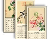 """NEW 2017 Digital Calendar Download and Print 5"""" X 10"""" Pages Asian Birds and Flowers Printable 12 Different Images 2017 CAL 13"""