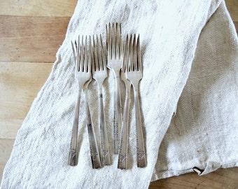 SET of 7 Vintage 1937 Silverplate Dinner Forks Nobility Plate
